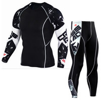 Wholesale Complete Black Suit - Long Sleeve tracksuit Rash Guard Complete Graphic Compression Quick dry Shorts Multi-use Fitness MMA Tops Shirts Men Suits