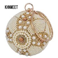 ingrosso sacchetto di perle di cerimonia nuziale delle donne-Pochette da polso da uomo in oro con palline dorate e perline