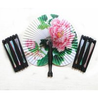 klasik katlanır fanlar toptan satış-Vintage Çiçek Baskı Kağıt Fanı Düğün Dekorasyon Parti Iyilik Çin El Katlanır Fan Fantezi Kadın Kızlar Dans Fan