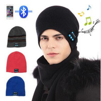 Wholesale music hats resale online - Bluetooth Music Hat Soft Warm Beanie Cap with Stereo Headphone Headset Speaker Wireless Microphone Music Knitted Hats Bluetooth Hat
