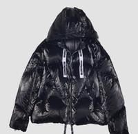 ykk reißverschluss schwarz großhandel-Mode Oversize Männer Metall schwarze Daunenjacke mit Hoody Daunenjacken mit Ykk-Reißverschluss
