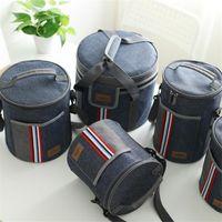 boîtes à lunch en tissu achat en gros de-Oxford Tissu Pique-Nique Déjeuner Boisson Isolation Thermique Glacière Tote Bag 500ML Portable Carry Case Lunch Box 5 TAILLE