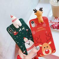 iphone cover 3d noel achat en gros de-Pour iPhone XS Max XR X 6 7 8 Plus Mignon 3D De Noël Elk Bonhomme De Neige Silicone Bande Dessinée De Couverture De Haute Qualité