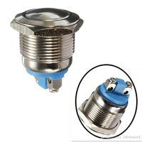 ingrosso pulsante 19mm-Nuovo 19mm 12V auto impermeabile metallo pulsante ON OFF Horn Switch Engine Starter argento IP65
