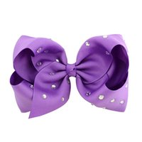 Wholesale girls hair bows 5.5 resale online - 20pcs quot Large Colorful Full Rhinestone Hair Bow With Clip Girl Dance HairPin Boutique Kids Hair Accessories HD759