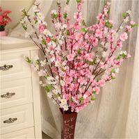 Wholesale blossom homes resale online - Artificial Cherry Spring Plum Peach Blossom Branch Silk Flower Home Wedding Decorative Flowers Plastic Peach Bouquet CM P0