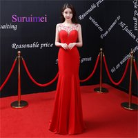 Wholesale free carpet images - Free Shipping 2018 Red Long Mermaid Evening Dresses Scoop Neck With Crystal Sleeveless Prom Gowns For Party Dress
