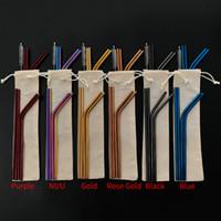 ingrosso paglia libera della paglia-Combinazione libera di 6 colori !! Confezioni di sacchetti personalizzati 4 + 1 Set di cannucce riutilizzabili in acciaio inossidabile Set di cannucce in metallo con pennello di pulizia