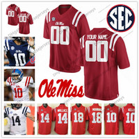 Wholesale Black Rebel - Custom Ole Miss Rebels College Football red navy blue white Personalized Stitched Any Name Number Manning Kelly #20 Patterson Jerseys S-3XL