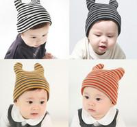 Wholesale Wholesale Wool Fiber Yarn - INS Baby cartoon Caps Kitty Woolen Yarn Autumn Winter Beanies Knitted Girl Gifts Infant Hats Cute Rabbit Ears Hats 12 Colors LC645
