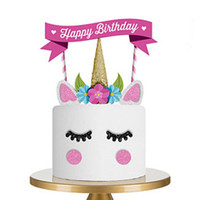 Wholesale Cute Happy Birthday - Cute DIY Handmade Unicorn Children's Birthday Cake Topper Happy Birthday Candle Party Wedding Supplies Cake Decor