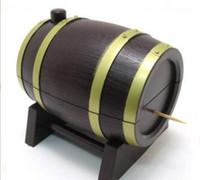 вина оптовых-Новый горячий продавать 60 шт. творческий вино форма ствола автоматическая зубочистка держатель ватный тампон дело Box контейнер случайный цвет
