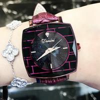 montre carrée violette achat en gros de-DIMINI New Ladies Watch Star Square Bracelet en cuir à rayures Femmes Mode Personnalité Violet Female Watch