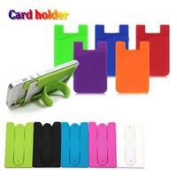 iphone kreditkartenschlitz großhandel-Universal-Silikon-Karten-Slot-Karten-Tasche Kredit-Halter mit 3M Kleber Autostander Rückendeckel tragbaren Kartenträger für iPhone 9 xs plus