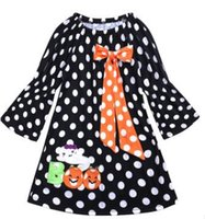 Wholesale girls polka dot ruffle dress resale online - 2018 Long Sleeve Girls Halloween Ruffle Dress Black Polka Dot Pumpkin Dress Baby Girl Children Pary Dresses