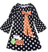 ingrosso neonata del vestito dal puntino nero-2018 manica lunga ragazze Halloween Ruffle Dress vestito a zucca a pois nero Baby Girl Children Pary Dresses
