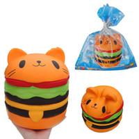 gatos gigantes do brinquedo venda por atacado-20 cm grande gato hambúrguer para squishy jumbo kawaii squishies brinquedo lento aumento maciço espremer brinquedo collecte presente para crianças brinquedo engraçado