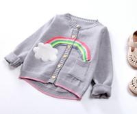 ingrosso maglioni boutique-Cute Girls Rainbow Cardigan Maglione 2018 Autunno Inverno Kids Boutique Abbigliamento 2-7Y Little Girls Button maniche lunghe maglieria Top Capispalla