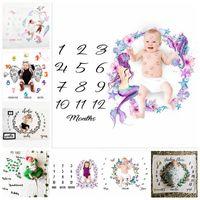 Newborn Baby Milestone Blankets Fashion Unicorn Mermaid Flower Wrap Blanket Photography Backdrops Prop Blanket Baby Quit 43 Styles YL390