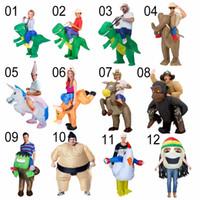 parti kovboy kostümü toptan satış-Cadılar bayramı Kostüm Çocuklar için Tatil Karnaval Kostüm Kadınlar Dinozor Kovboy Şişme Kostümler Komik Parti Elbise Hayvan Cosply