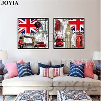 Wholesale Framed Flag - 2 Piece Retro Style London Canvas Print Britain Flag Canvas Paintings Vintage Wall Art Pictures For Living Room Bedroom No Frame