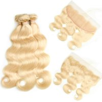 Wholesale wave hair blond resale online - Top Selling Blond Human Hair Bundles with Lace Frontal Closure A Mink Brazilian Hair Straight Body Wave Cheapest inch Long
