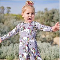Wholesale long tutu tail resale online - 2018 Spring Baby Girls Dresses Unicorn Printed Dress Colorful Tail Striped Round Neck Long Sleeve Baby Girls Dresses