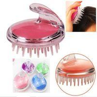 silikonhaarkämme großhandel-Silikon-Kopf-Massager-Shampoo-Kopfhaut-Massage-Bürsten-Haar-waschende Kamm-Körper-Massage-Bürste DHL-freies Verschiffen