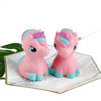 Wholesale rainbow pony - Cute Pink Pony Unicorn Squishy rainbow Slow Rising Kid Toys Soft Jumbo Pressure Relief Toys Novelty Items 10CM FFA172