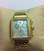 relógios cronógrafo venda por atacado-Hottest- Michele Deco Diamante Cronógrafo / dia / data totalmente função de ouro relógio de quartzo moda feminina vestido relógios