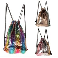 Wholesale drawstring gym backpack resale online - Mermaid Sequins Drawstring Bag Climbing Hiking Fitness Shopping Pack Gift Bags colorful Reversible Sequins backpack KKA3865