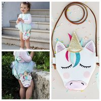 Wholesale kids crossbody bags - Kids Mini Shoulder Bags Unicorn Baby Girls Messenger Bag Coin Party Accessory PU Cloth Cartoon Cute unicron Crossbody Bag KKA5138