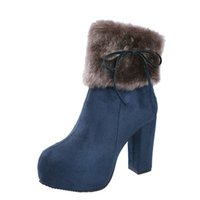 72a6ba5ff Women's Ankle Boot Woman 10cm Thick High Heels Boots Women Warm Faux Fur  Snow Boots Female Side Zipper Bow Winter Platform Boots