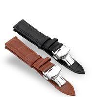 ingrosso guarda la chiusura lampo-Cinturino universale di qualità AAA adatto per cinturino con cinturino ROLEX Chiusura nascosta Fibbia doppia fibbia a farfalla Orologio in pelle marrone Chiusura in acciaio 20 mm
