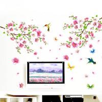 blumendekoration für zu hause großhandel-DIY Abnehmbare Blume Schmetterling Vinyl Kunst Vögel Wandaufkleber Aufkleber Home Room Decor