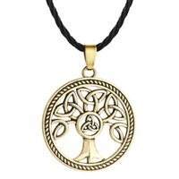 Wholesale celtic pendant silver knot - 5pcs lot Celtic Knot Family Tree of Life Round Charm Pendant Necklace For Mens Vintage Silver Rope Chain Collars Unisex Jewelry