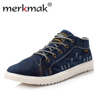 Wholesale vintage high top shoes - British Style Fashion Vintage Denim Jean Canvas Shoes Men High-top Casual Man Ankle Boots Flat Shoes Usual School Boy Footwear