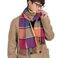 ingrosso beige sciarpe di moda di controllo-sciarpa da uomo sciarpe lunghe accessori abbigliamento scialle a quadri scozzesi moda inverno autunno cravatte calde