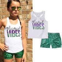 pantalones cortos chicas verde al por mayor-2018 Kids Baby Girl lLetter Imprimir Sirena Top Chaleco + Pantalones Cortos Verdes Pantalones Niñas Ropa para Niños Ropa de Verano para niños