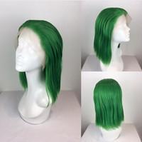 ingrosso parrucche verdi bob-MHAZEL 12in Free parte breve Bob dritto parrucche sintetiche pizzo fibra di resistenza al calore verde per signora