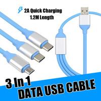 câble multiple usb achat en gros de-Câble de charge rapide USB 3 en 1 multiple avec connecteurs V8 Micro de type C pour Samsung Note8 S9 S8 8 7 Plus Huawei