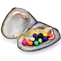 ingrosso desiderando perle-All'ingrosso Love Wish Oyster d'acqua dolce con gemelli Signle Triplets Quadruplets Quintiles Perle all'interno ovale naturale 7-8mm 25 colori 20 Pz / lotto