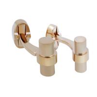 ingrosso gemelli di colore oro-Gemelli di cilindro di colore oro rosa Gemelli di metallo polacchi opaco Affari Gemelli di moda semplice per accessori di gioielli da uomo pulsante