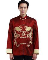 coleiras de terno tradicionais venda por atacado-Shanghai História manga comprida Tradicional Chinesa roupas double dragon bordados Tang Suit mandarim Jacket colar