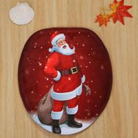 Wholesale velvet seat covers for sale - Group buy Eco Friendly New Coral Velvet Christmas Santa Claus Pattern Set Toilet Seat Cover Toilet Seat Cover Bath Mat Holder For Bathroom