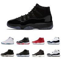 Wholesale roses night - New Arrival Cap and Gown Prom night 11 XI Men Basketball shoes Bred black white Concord High space Gym red midnight navy Sneaker