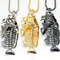 knochen-stil kette großhandel-Designer Schmuck Hip Hop Schmuck Halskette Fisch Knochen Anhänger Edelstahl Halskette Punk Stil heiße Mode frei von Versand