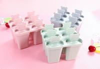 diseños de herramientas de hielo al por mayor-6 Rejillas de hielo congelado moldes de paletas de hielo de dibujos animados bebé oso diseño Popsicle fabricante DIY herramientas de helado Envío gratis
