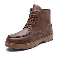 klasik dikiş dantel toptan satış-Erkek Ayak Bileği Çizmeler Martens PU Deri Kış Sıcak Ayakkabı Motosiklet Bağbozumu Mens Lace Up Ayak Bileği Çizme Sonbahar Dikiş Oxfords Ayakkabı