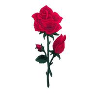 eisen appliques blumen großhandel-Stickerei Patch Red Rose Blumen Nähen Eisen auf Patches Gestickte Abzeichen für Tasche Jeans Hut T Shirt DIY-Applikationen Handwerk Dekoration